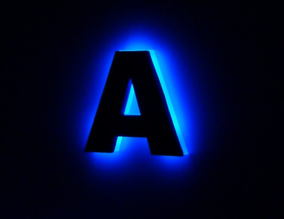 led illuminated lettering With led letter a